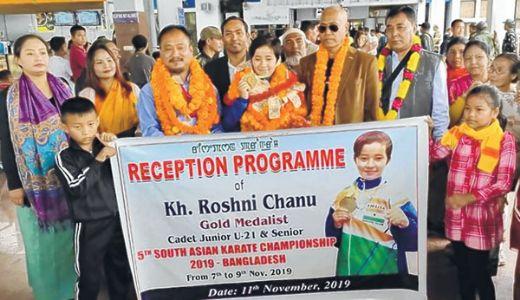 Karate gold medallist Kh Roshni accorded warm reception